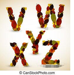Autumn Vector alphabet letters / font