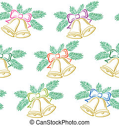 Seamless background, Christmas bells, pictogram - Seamless...