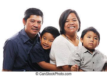 Asian Family - Asian family together looking happy