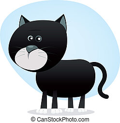 Cartoon Black Cat - Illustration of a cartoon tiny black cat