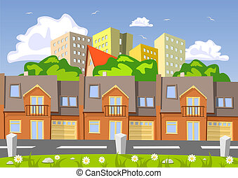 Colorful abstract vector city, row building Illustration