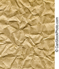 Crumpled old brown paper bag texture.