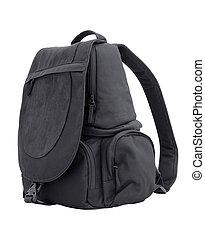 backpack - black sling bag isolated on white