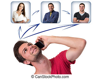 Young Man networking on the phone - Young Man talking on the...