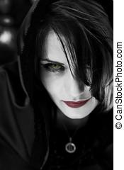 mal, vampire, femme