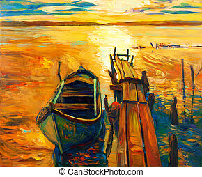 Boat and pier - Original oil painting of boat and...