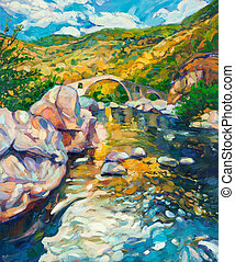 Bridge in the mountains - Original oil painting of stone...