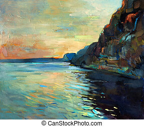 Ocean and cliffs - Original oil painting of beautiful sunset...