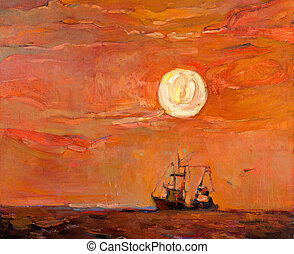 Fishing boat - Original oil painting of beautiful sunset...