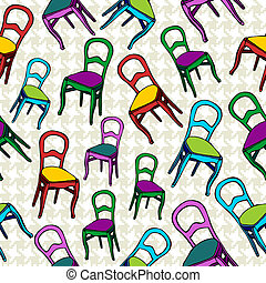 Vintage chairs seamless pattern background. Vector file...