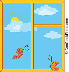 Window with sky, sun and butterflies