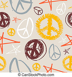 Peace Symbols seamless background - Colorful peace and love...