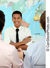 Students in geography class