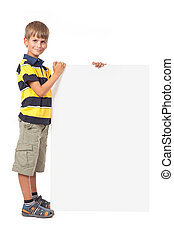 Boy holding a banner Back to school - Boy holding a banner...