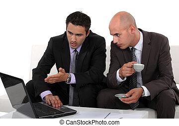 socios, discutir, su, empresa / negocio, plan