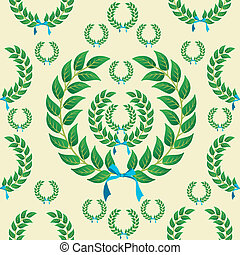 Seamless laurel wreath pattern - Laurel wreath with a...