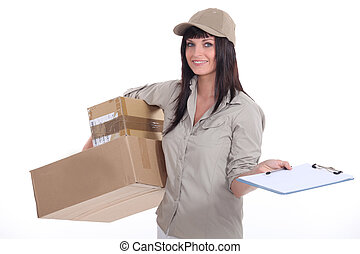 Female courier with parcels and a clipboard