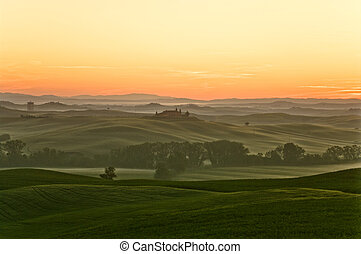sunrise in tuscany - a nice view of tuscany landscape