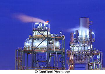 Oil refinery at twilight (Map Ta Phut Industrial Estate...