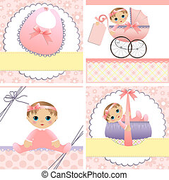 Cute templates for baby card - Cute templates set for baby...