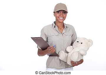 Delivery of packages with teddy bear
