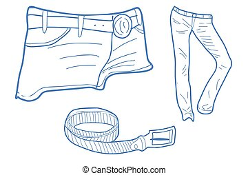 Jeans - siluettes of jeans and shorts plus a belt