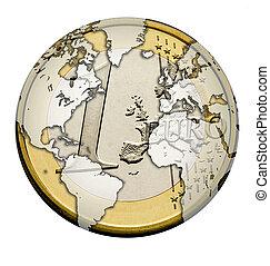 Euro Welt - Euro wie Planet Erde dargestellt