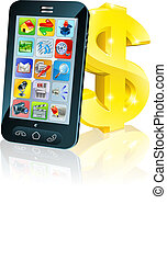 Cell phone and gold dollar sign - Illustration of cell phone...