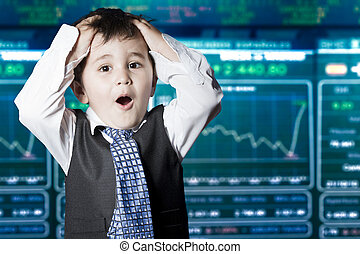 Surprised businessman child in suit with funny face, stock...