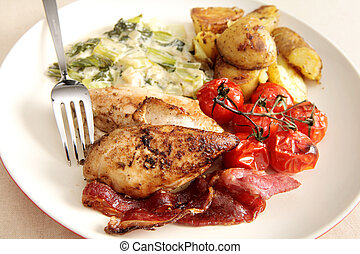 Oven grilled chicken breast meal - Oven grilled/baked...