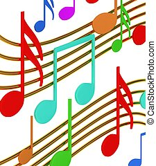 Color musical notes on white background