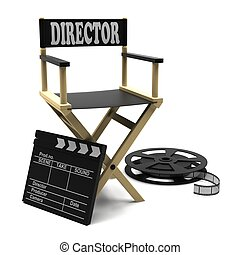Film industry: directors chair with film strip and movie...