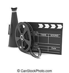 Movie clapper and film strip and megaphone on a white...