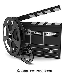 Movie clapper and film strip on a white background