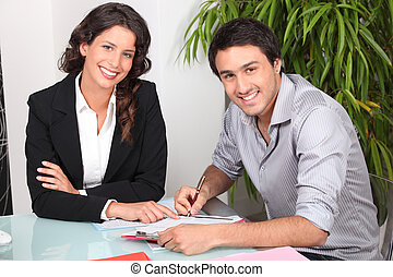 Customer signing contract agreement