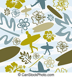 Summer Surfing seamless pattern - Summer beach surfing...