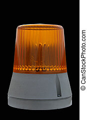 Signal ligth - Orange signal light isolated with black...