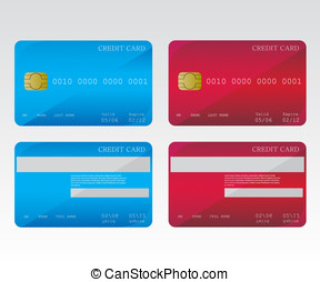 Credit cards blue and red