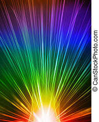 abstract rays - abstract ray light rainbow over black...