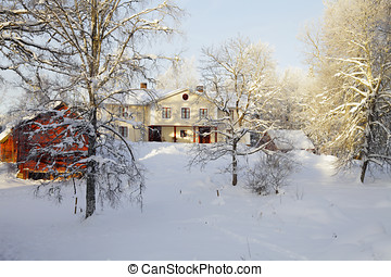 manor house, winter and snow - large manor house draped in...