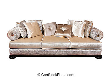 Sofa with pillows isolated on white