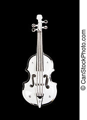 Decorative white violin isolated on black background