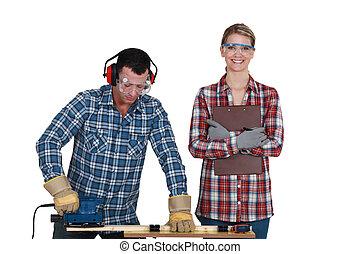 婦女, 工作, 建造者, 檢查