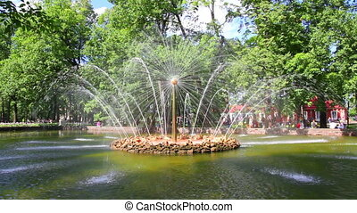 Sun fountain in petergof park St. Petersburg Russia