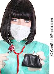 檢查, 健康, 錢包, 她, 醫生