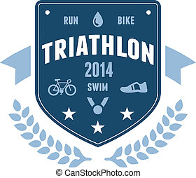 Triathlon badge emblem design - Modern triathlon badge...