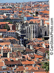 Lisbon panorama, Portugal buildings, roofs, churches