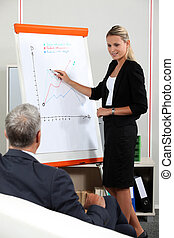 Young businesswoman in a presentation