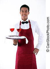 wine waiter serving two glasses of wine