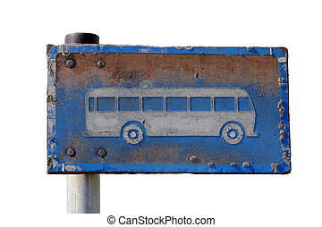 Grungy Bus Stop Sign over White